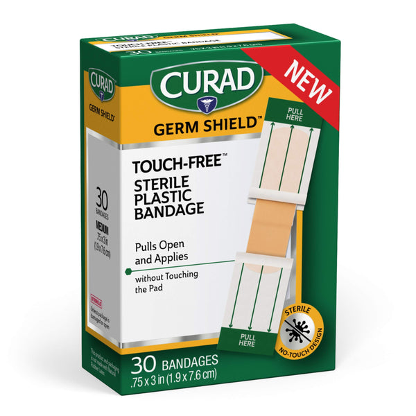 "Curad Germ Shield Touch-Free Adhesive Bandage, Plastic Bandage with Easy Application Wrapper.75"" x 3"", 30 Count - H&B Aisle"