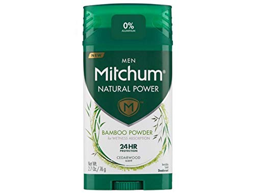 Mitchum Natural Power Deodorant for Men with Bamboo Powder, Cedarwood - 2.7 oz