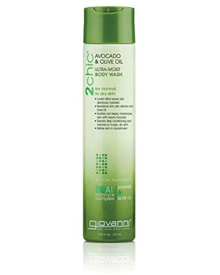 Giovanni Creamy Avocado & Olive Oil Body Wash - 2chic Ultra-Moist Hydrating Vitamin-Rich Cleanser, 10.5 Ounce (Pack of 1)