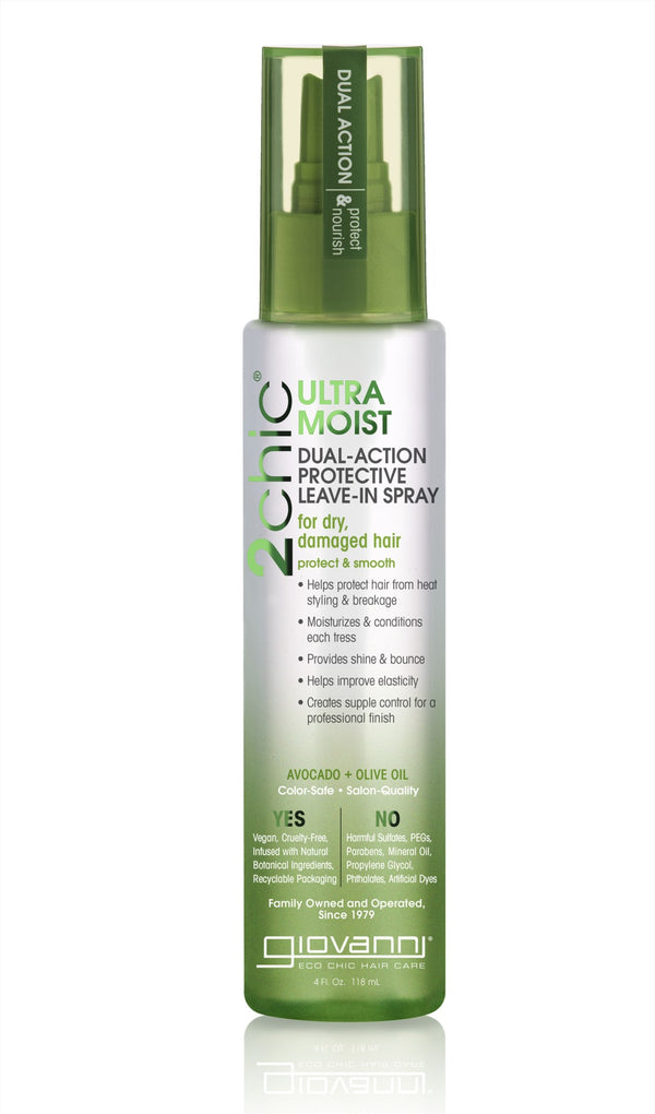 GIOVANNI COSMETICS - 2chic Avocado and Olive Oil Ultra-Moist Dual Action Protective Leave in Spray, 4 Fluid Ounce