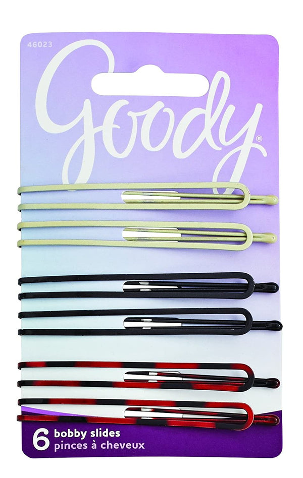 Goody Bobby Pin Slides, Long, Assorted Colors, 6-count