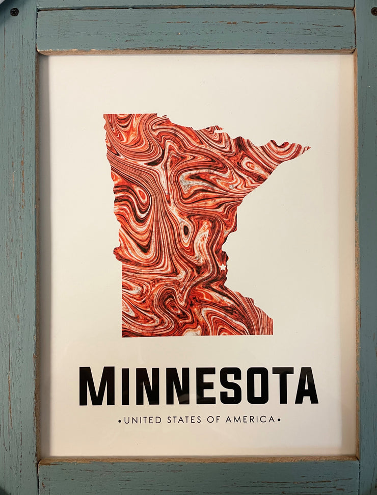 MN State Red Swirl abstract art print