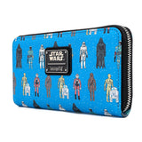 LOUNGEFLY STAR WARS ACTION FIGURES AOP ZIP AROUND WALLET (Pre-Order)