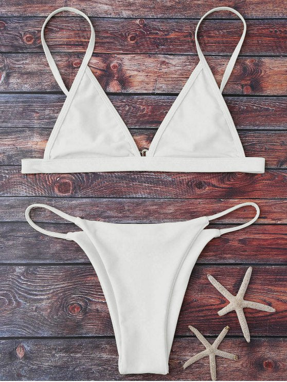 Minimal String Plunged Bikini Set