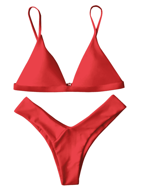 Red Soft Strapped Thong Bikini Set