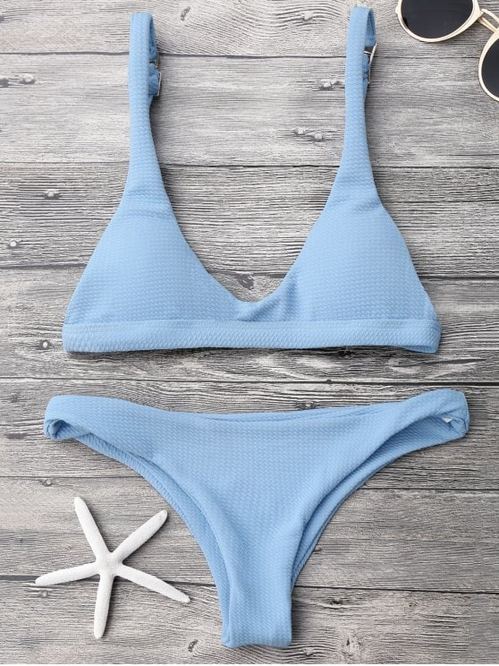 Blue Low Waisted Padded Bikini Set