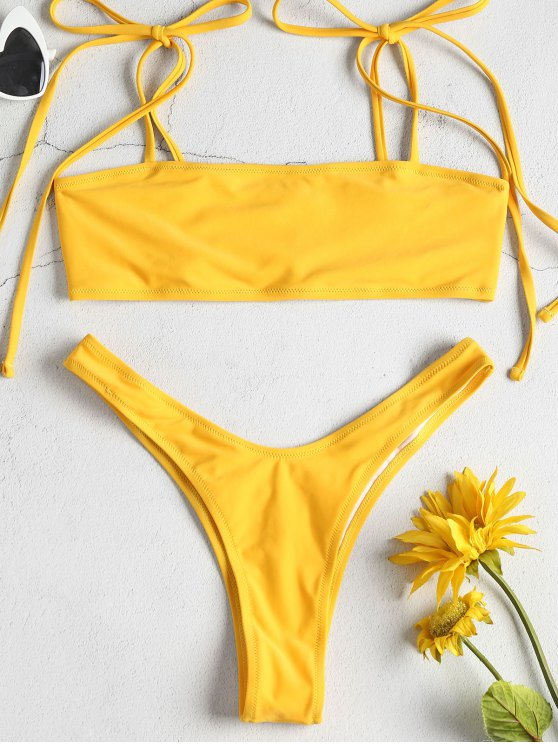 Tie Shoulders High Leg Bikini Set