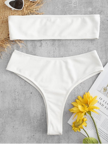 Low Waisted Spaghetti Strap Bikini - Yellow
