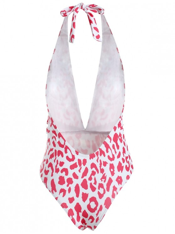 Red Pattern One Piece Swimsuit