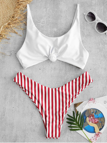 Striped One Shoulder String Bikini