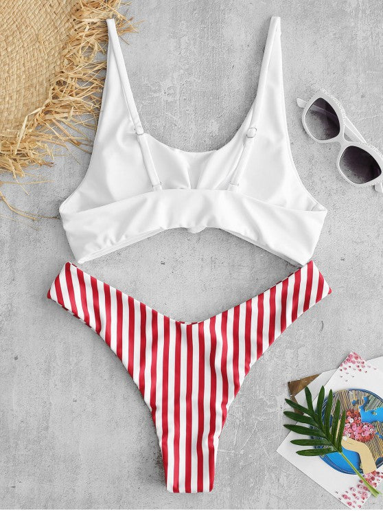 Striped Beach Knitted Bikini Set