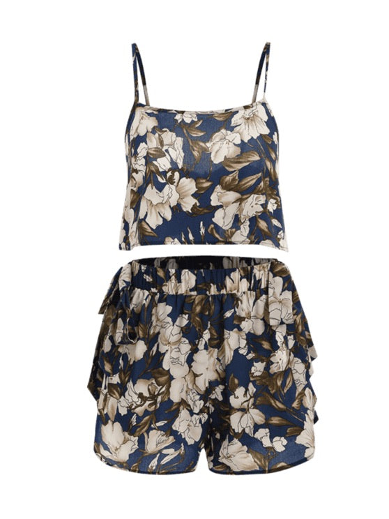 Deep Blue Floral Bowknot Cami Shorts Set
