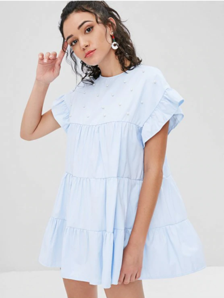 Faux Pearls Ruffles Casual Dress