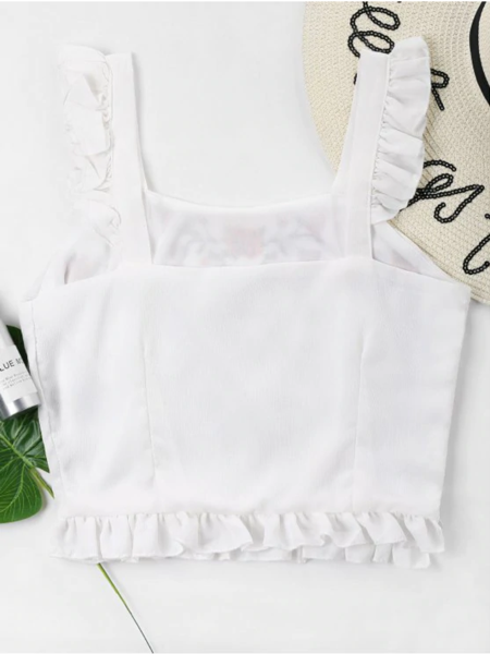 Floral Embroidered Ruffles Tank Top