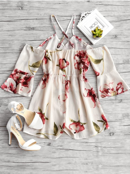 Floral Print Flare Sleeve Cami Romper