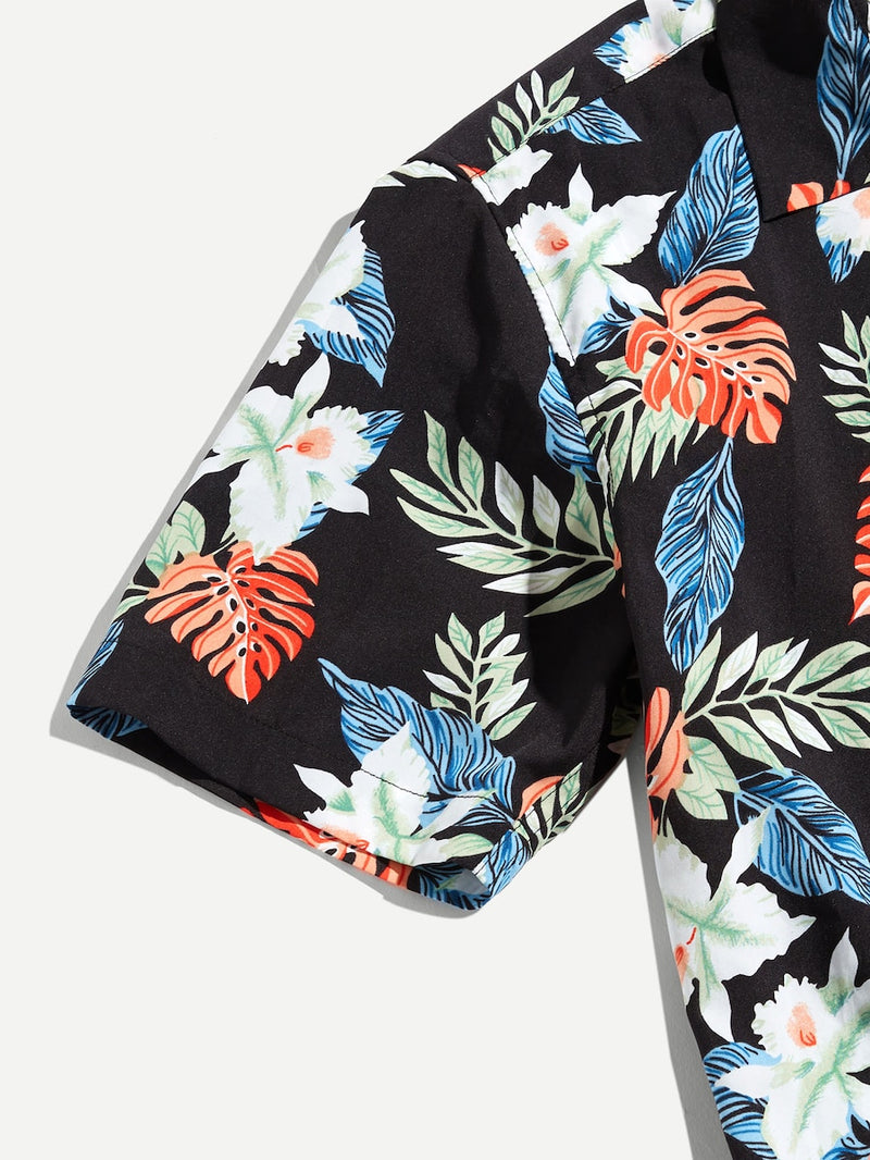 Men Button Up Tropical Print Top