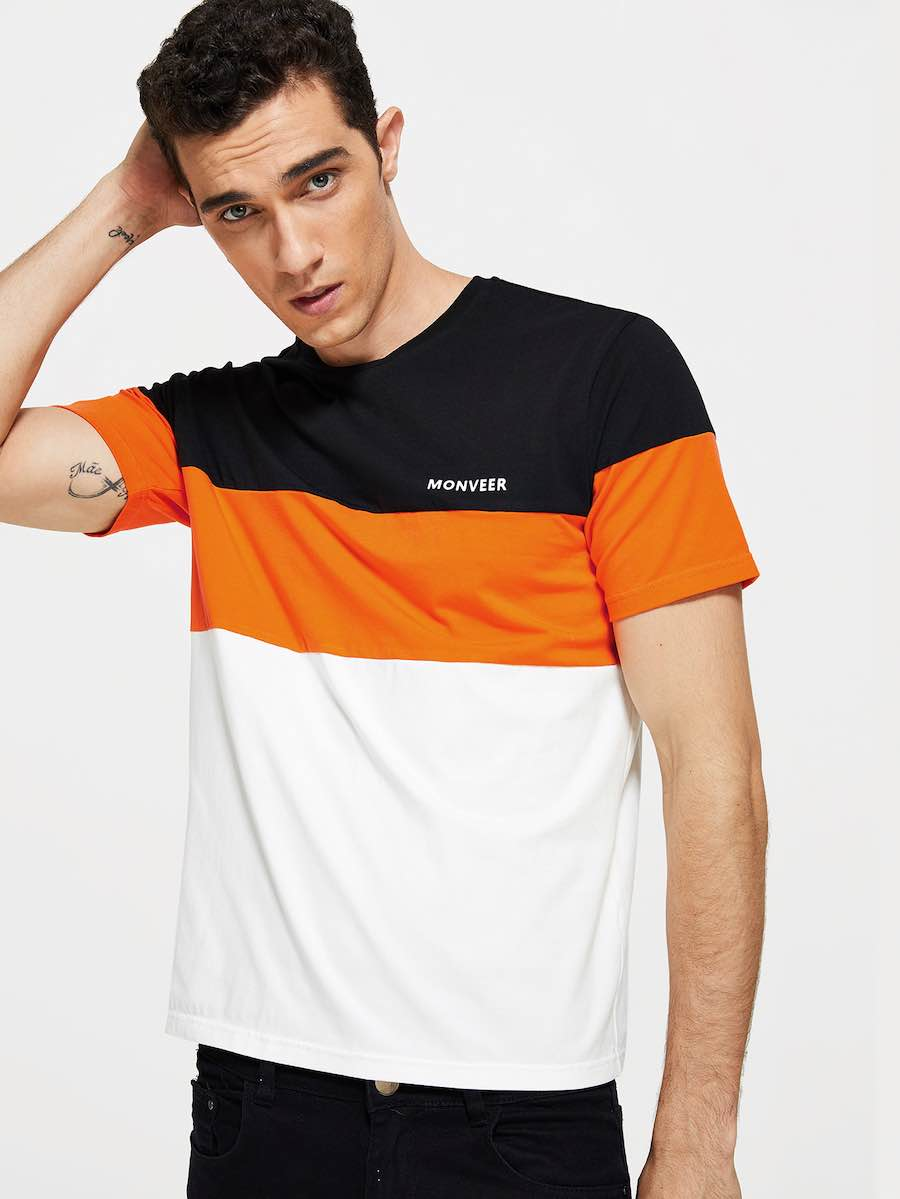 Men Letter Front Color Block Tee