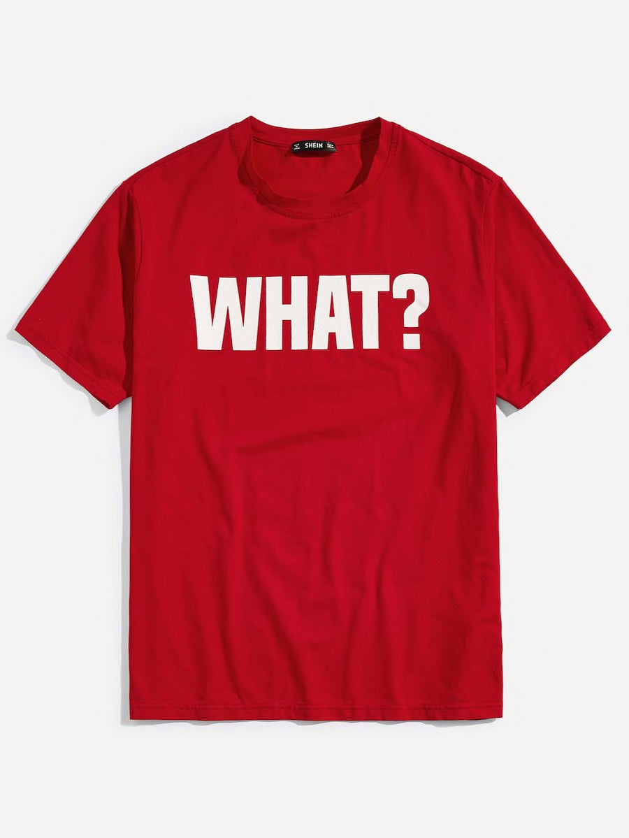 Men Letter Print T-Shirt (WHAT)