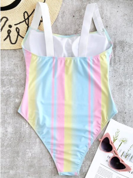 Square Neck Rainbow High Cut Swimsuit