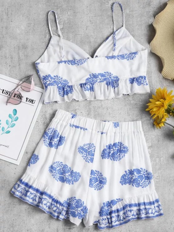 White Printed Lace Up Shorts Set