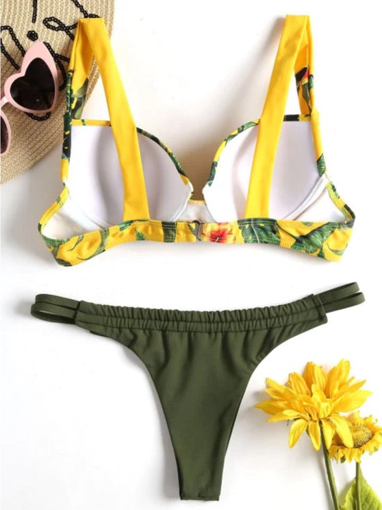 Yellow Jungle Push Up String Bikini