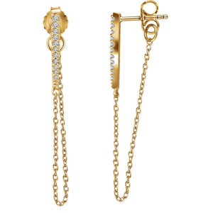 Diamond Bar Chain Earrings in 14ky