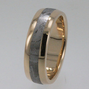 Meteorite Wedding Band 14K Yellow Gold