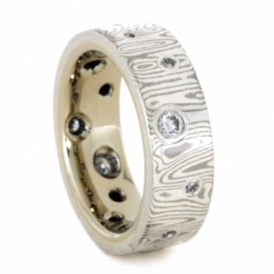 Mokume Gane 14kw Gold Diamond Wedding Band