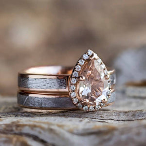 Pear Morganite Wedding Set