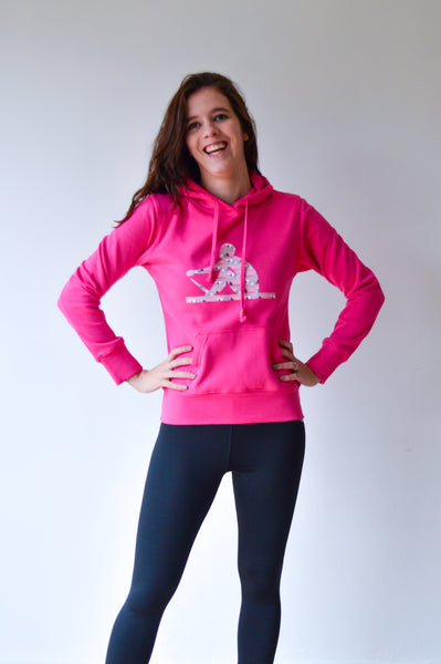 Hooded sweater hot pink - dames