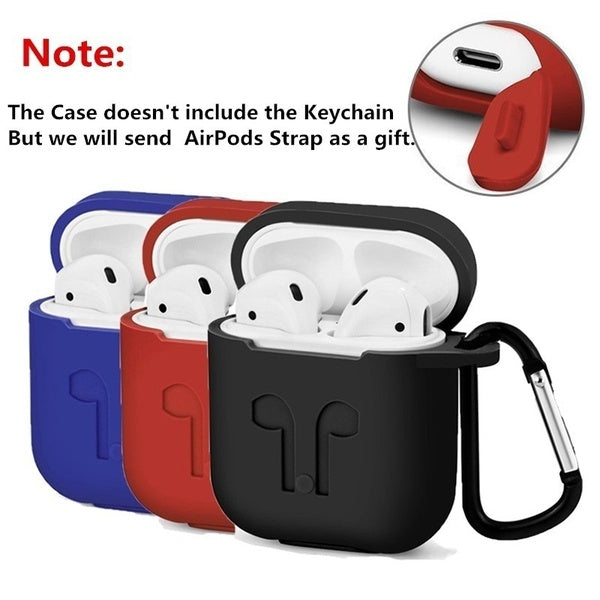 AirPods Silicone Dustproof Earphones Protector Cover with Keychain