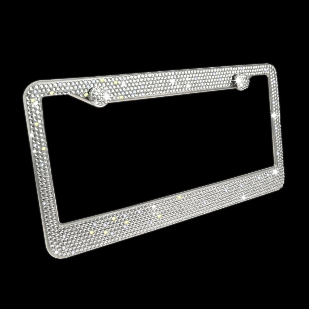Buy 1 Get 1 Ring Sticker on Free! Rhinestone Stainless Steel License Plate Frame