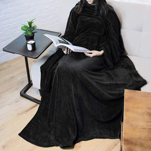 Premium Blanket Fleece Blanket With Sleeves