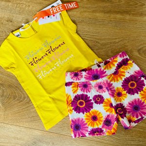 Yellow Floral Shorts Set