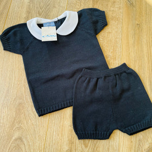 Navy Knitted Shorts Set