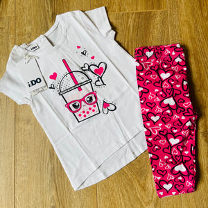 Pink Hearts 3/4 Legging Set