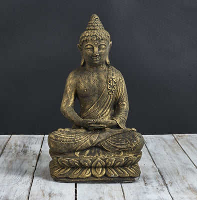 Buy Buddha Statue Meditating 40cm Black Gold | StoneBase