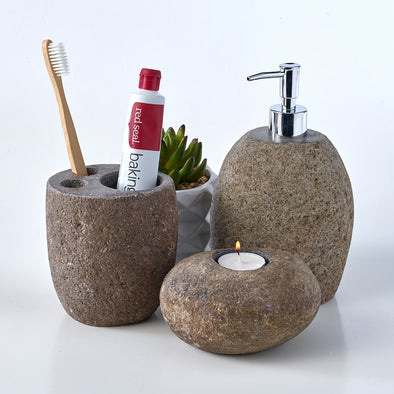 Luxury 3 Piece Raw Stone Bathroom Set