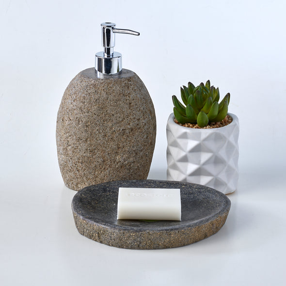 Luxury 2 Piece Raw Stone Bathroom Set Soap Dish & Lotion Dispenser