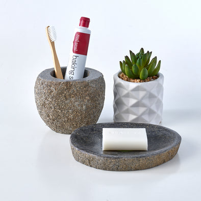 Luxury 2 Piece Raw Stone Bathroom Set Soap Dish & Toothbrush Holder
