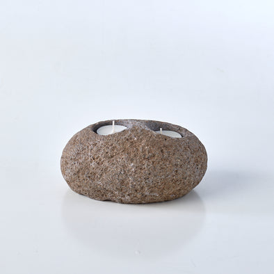 Raw Stone Double Tealight Candle Holder