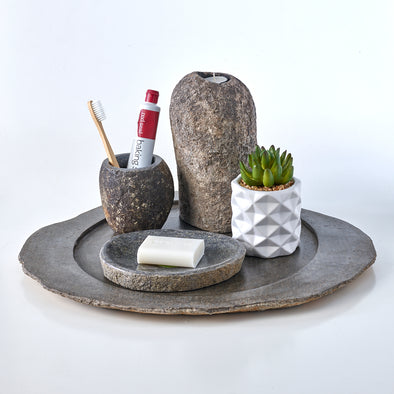 Luxury 4 Piece Raw Stone Bathroom Set & Candle Holder