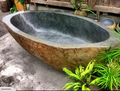 Natural Solid River Stone Bath Tub-StoneBase