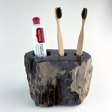 Petrified Wood Luxury Toothbrush & Toothpaste Holder, 3 Hole (G)