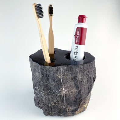 Petrified Wood Luxury Toothbrush & Toothpaste Holder, 3 Hole (I)