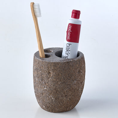 Natural Stone Luxury Toothbrush & Toothpaste Holder, 3 Hole