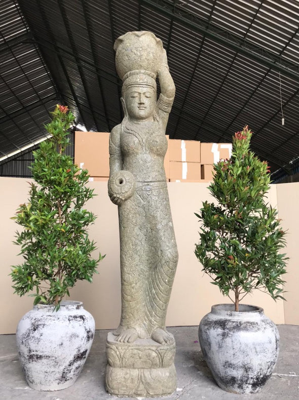 Buy Bali Statue With Pot Planter Water Feature | Hand Carved Stone | 200cm | Stone Base (764)