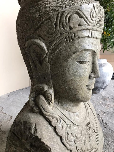 Buy Bali Statue With Pot Planter | Hand Carved Stone | 104cm | Stone Base (765)