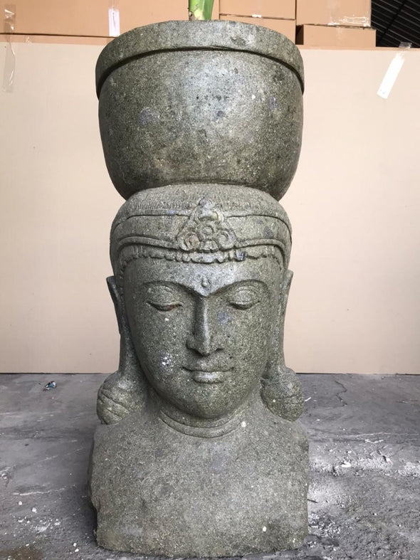 Buy Bali Statue With Pot Planter | Hand Carved Stone | 75cm | Stone Base (766)