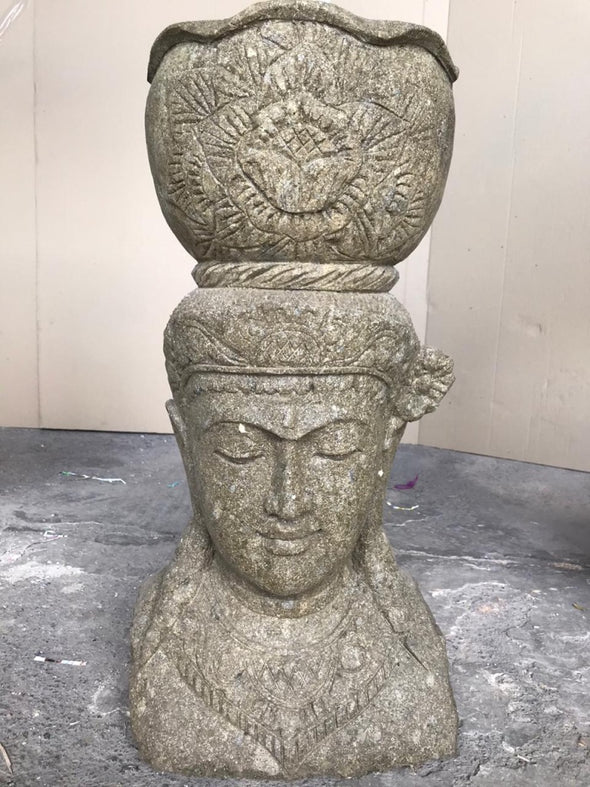 Buy Bali Statue With Pot Planter | Hand Carved Stone | 70cm | Stone Base (767)